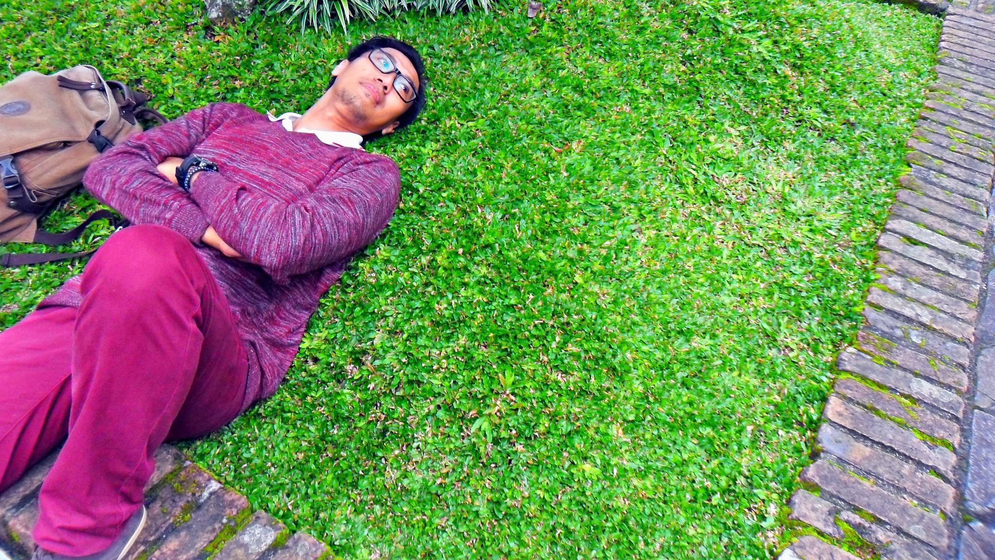 Photo in People #me #myself #gaze #green #red #grass