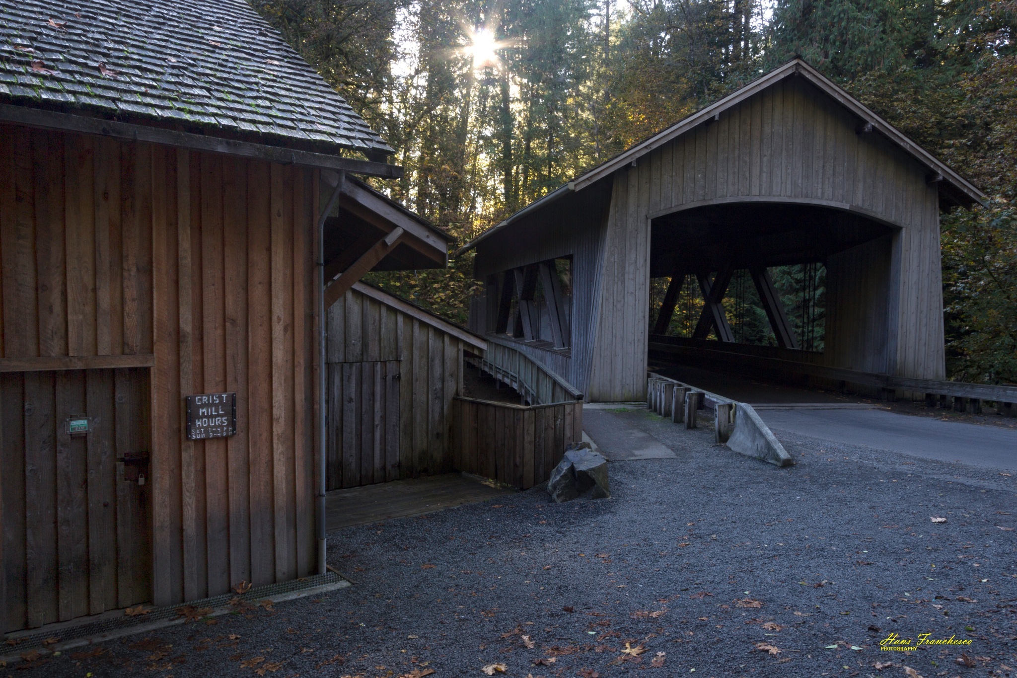 The covered bridge at Cedar creeks Grist Mill by Hans Franchesco