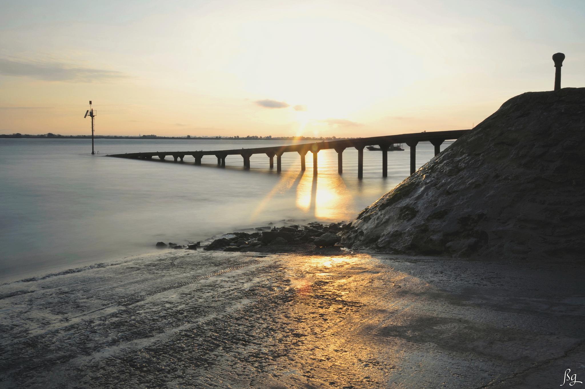 Low tide on the estuary by Bernard Guillon