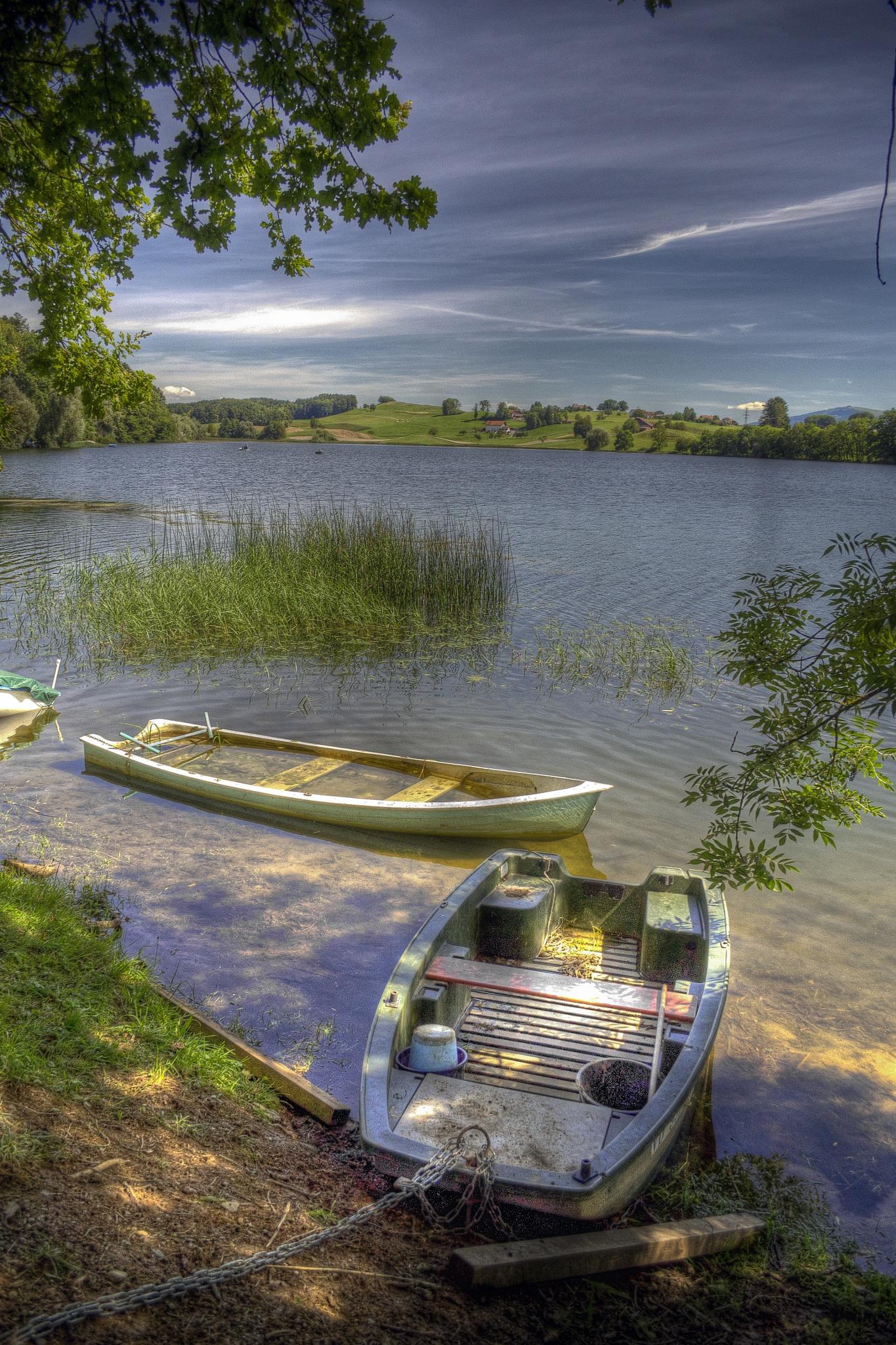Boats at Lac de Bret by MarieJirousek
