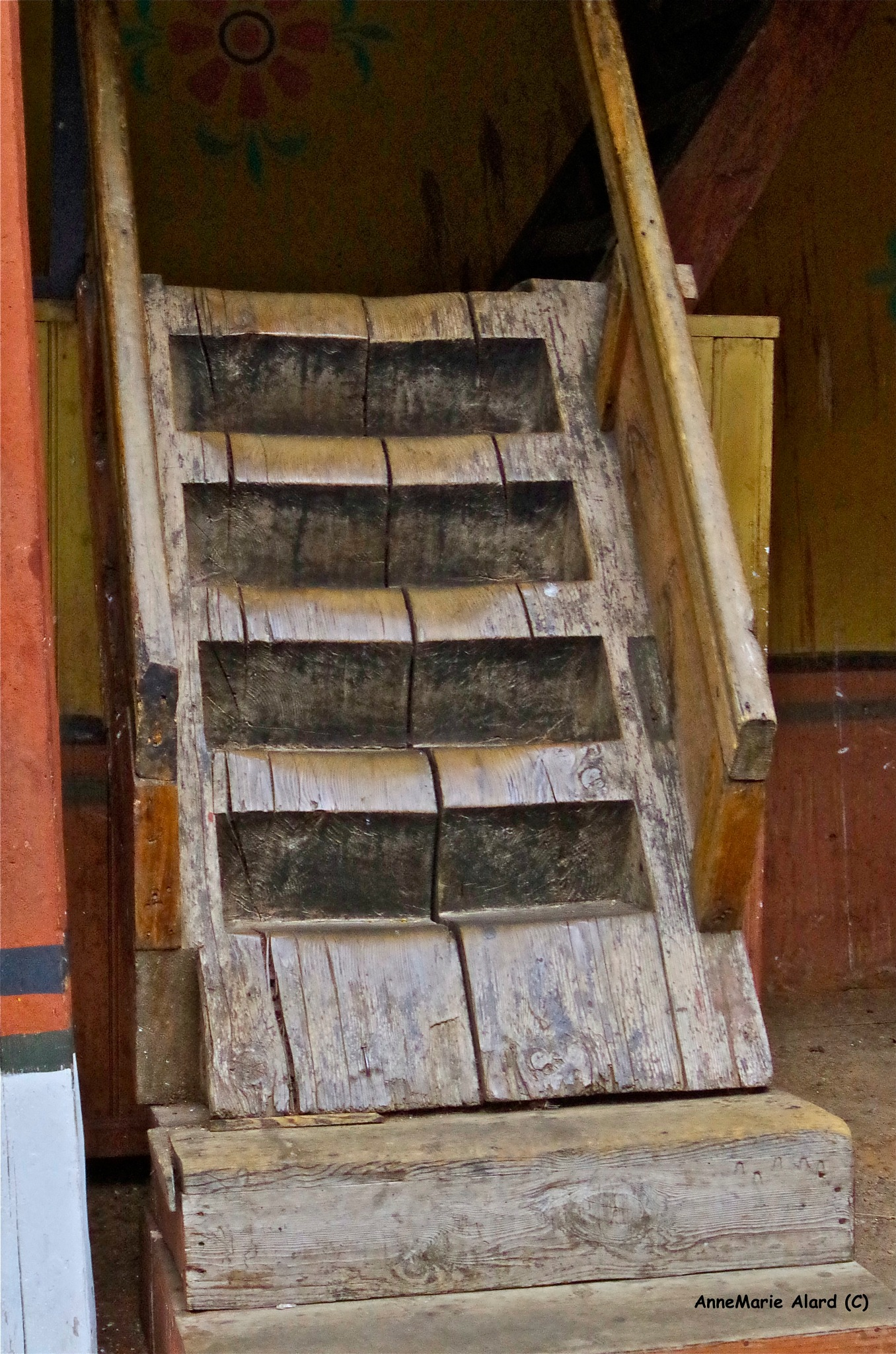 An old stairs carved in wood from Bhutan by annemariealard