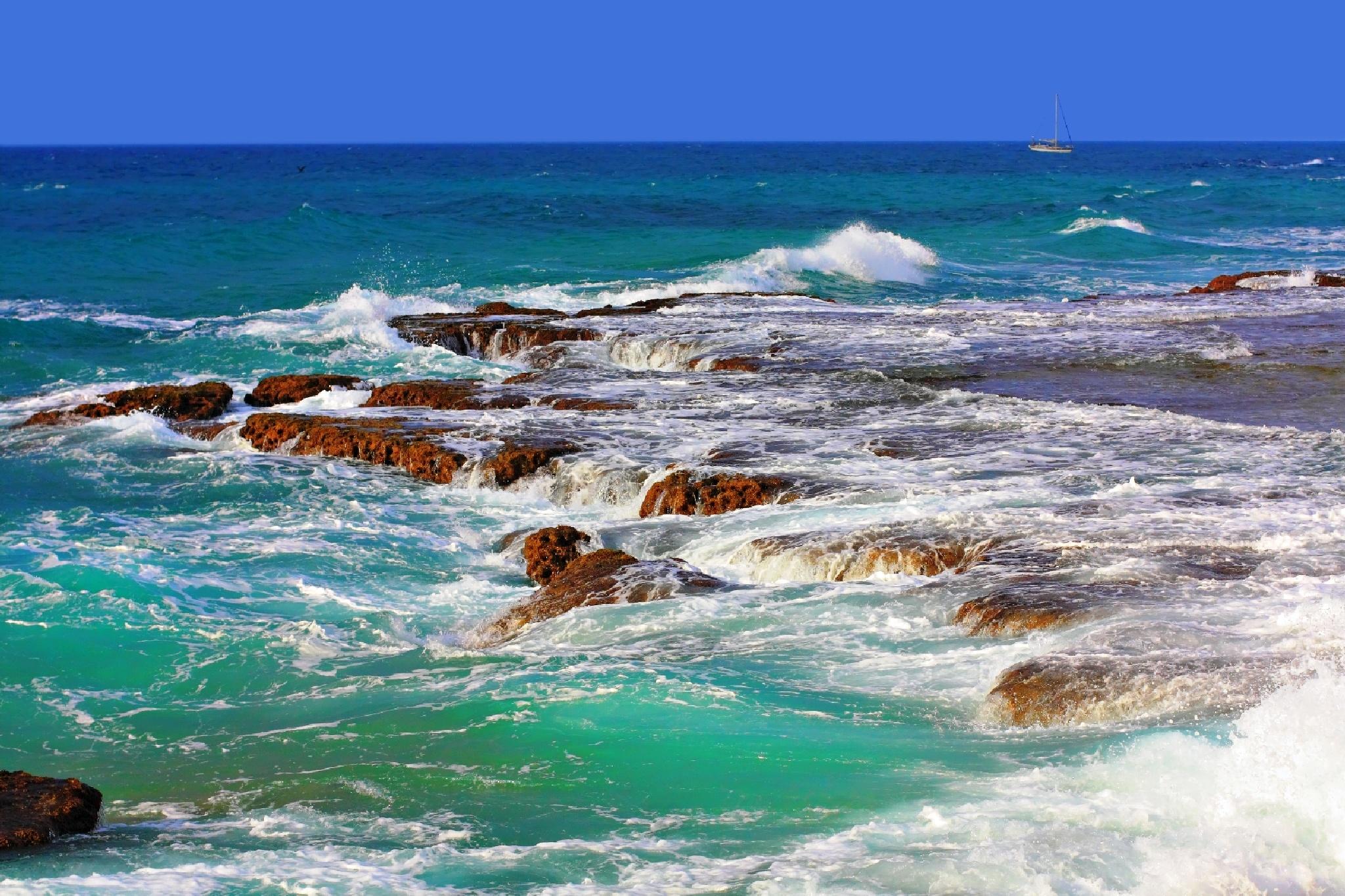 Mediterranean Sea and yacht .Tel Aviv.Israel by Konstantin Bolotinsky