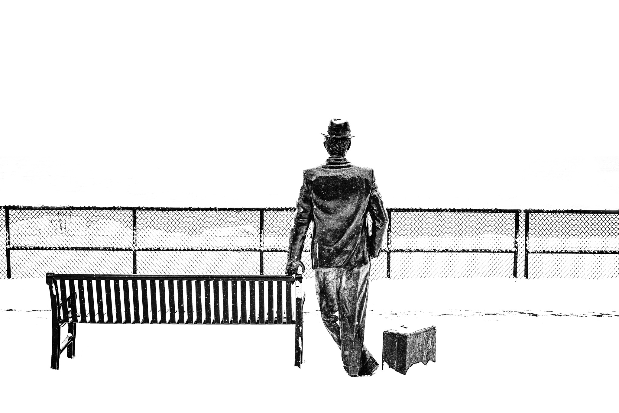 Photo in Fine Art #black & white #b&w #high contrast #objects #suit case #fence #statue