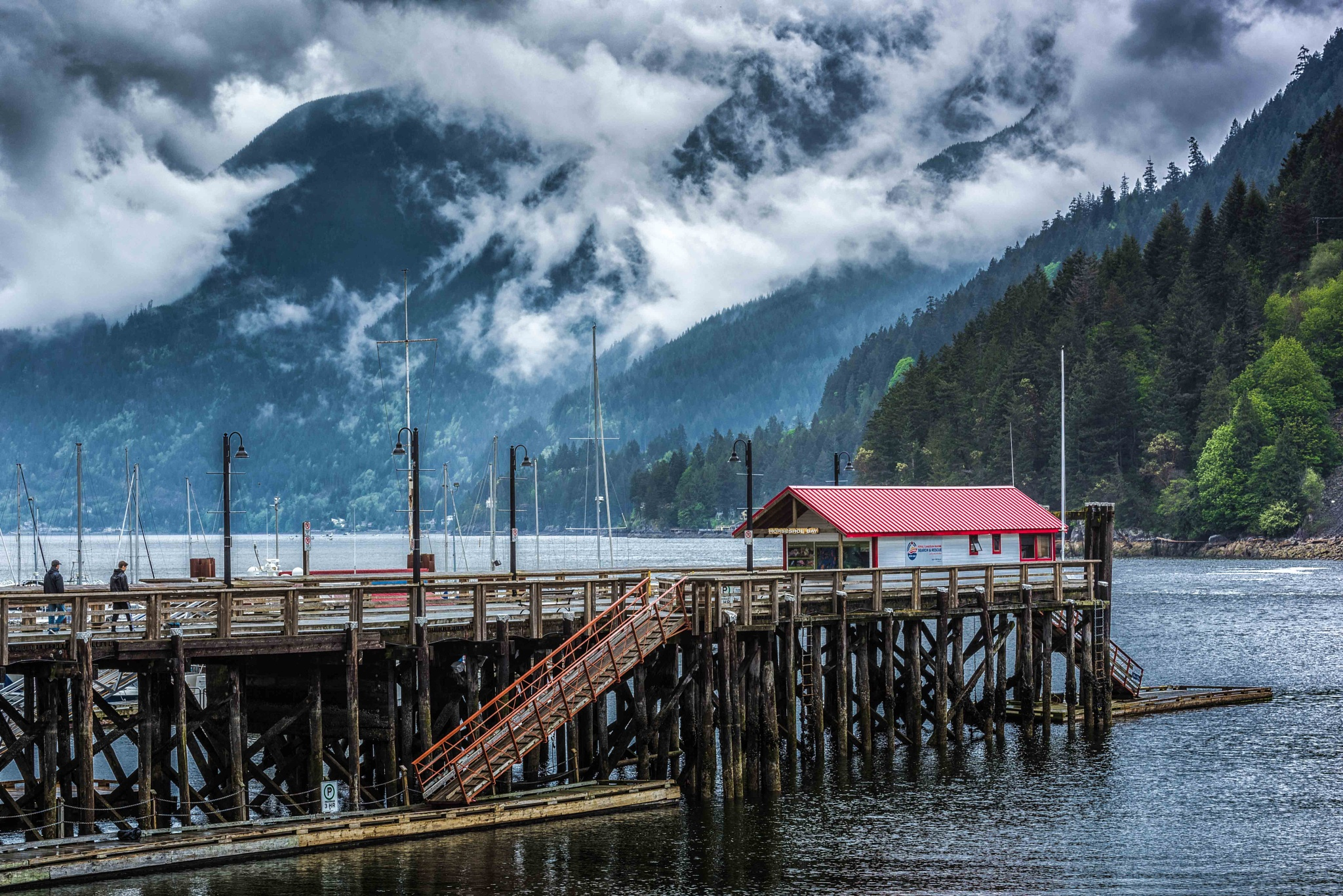 Photo in Landscape #pier #water #mountains #clouds #people #ocean