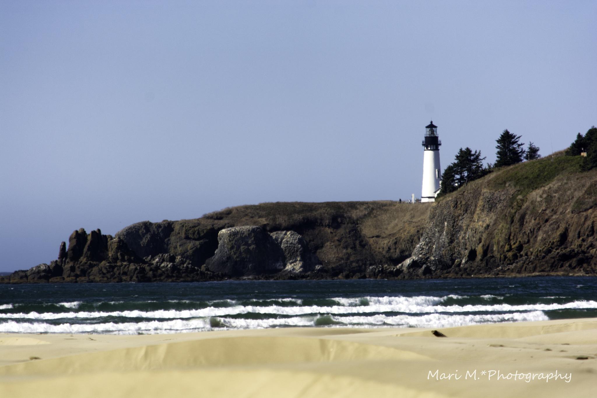 Lighthouse on Oregon Coast by Mari Garris