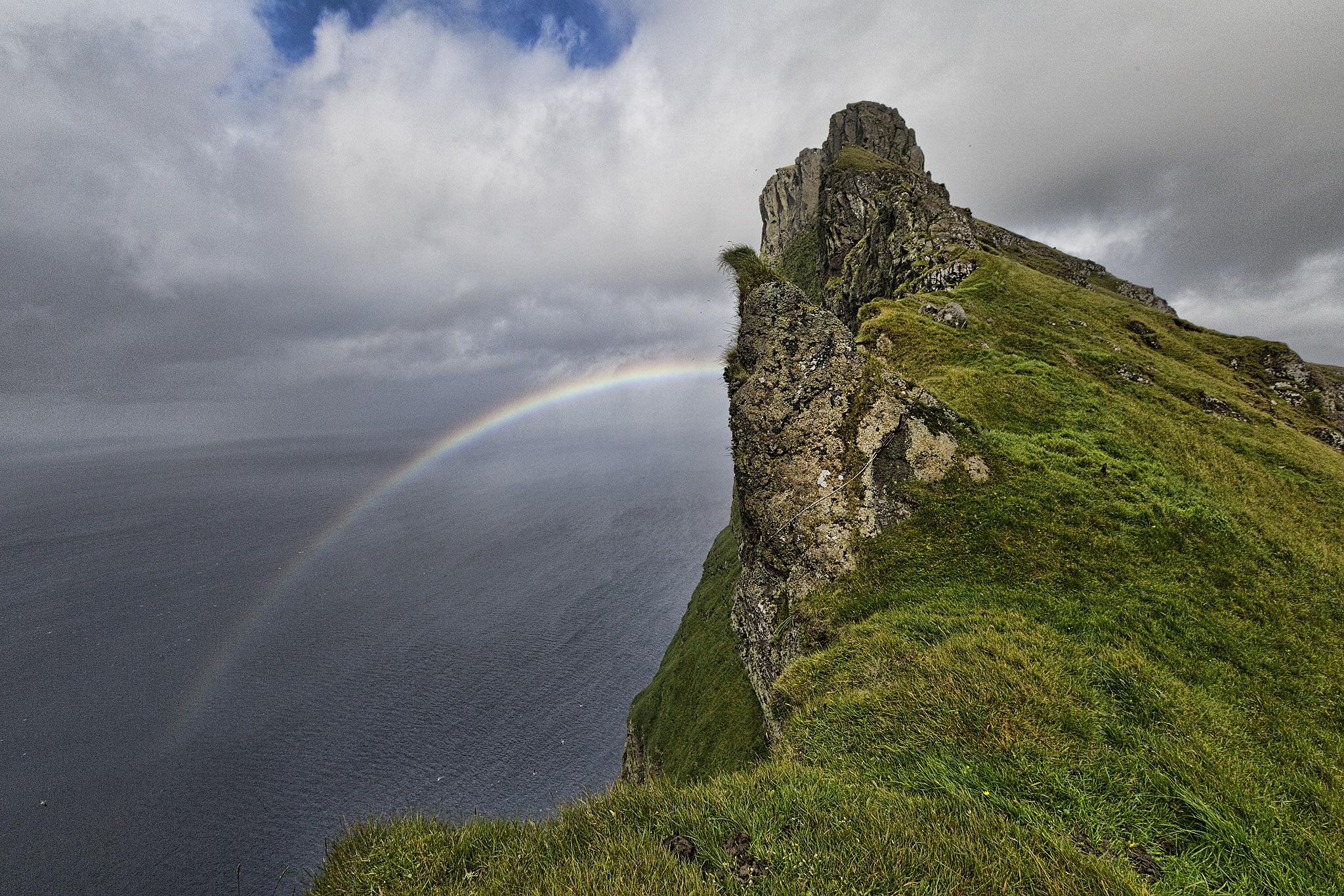 On my way up to Borgarin by Faroe Islands Hiking
