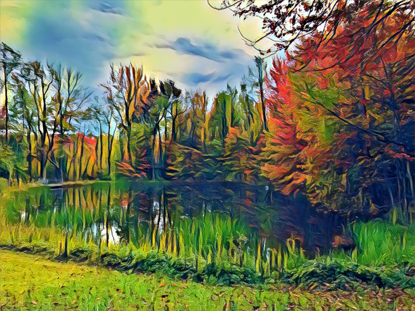 Fall at the pond by Roland Lavigne
