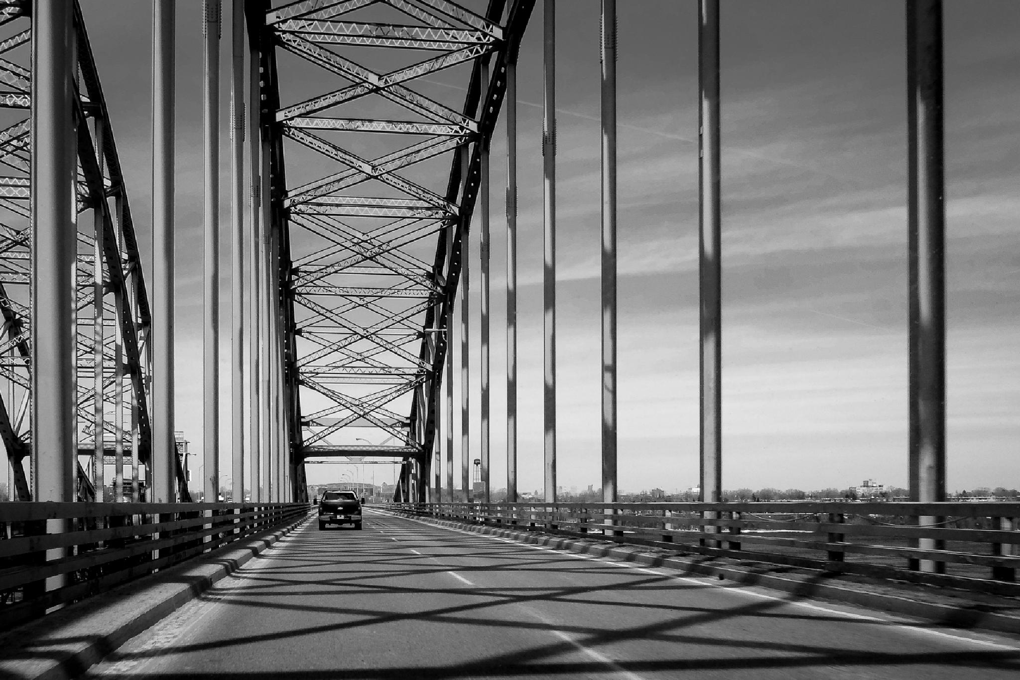 Photo in Black and White #road #car #bridge #shadow #drive #fuji #x20 #black #white #quebec #canadq #mercier