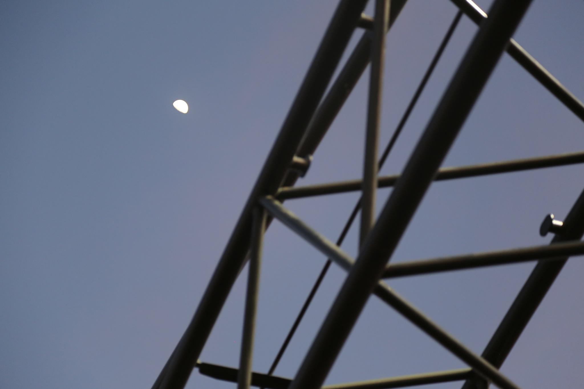 Photo in Nature #moon #construction #crane #heavy machinery #heavy equipment #lubbock #texas