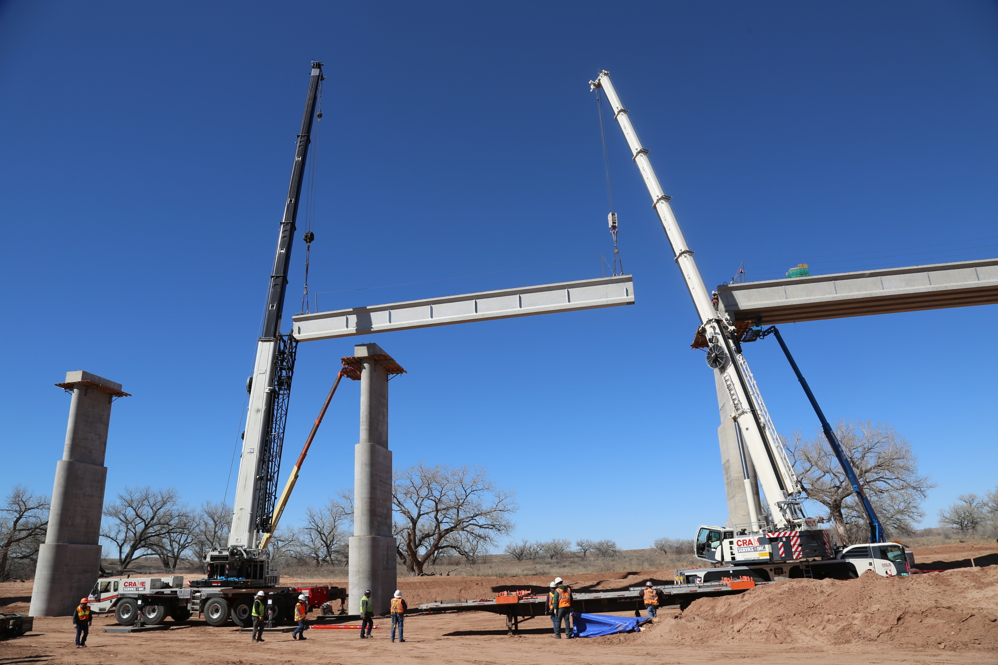 Hoisting Bridge Beams in Fort Sumner by Chris Martin
