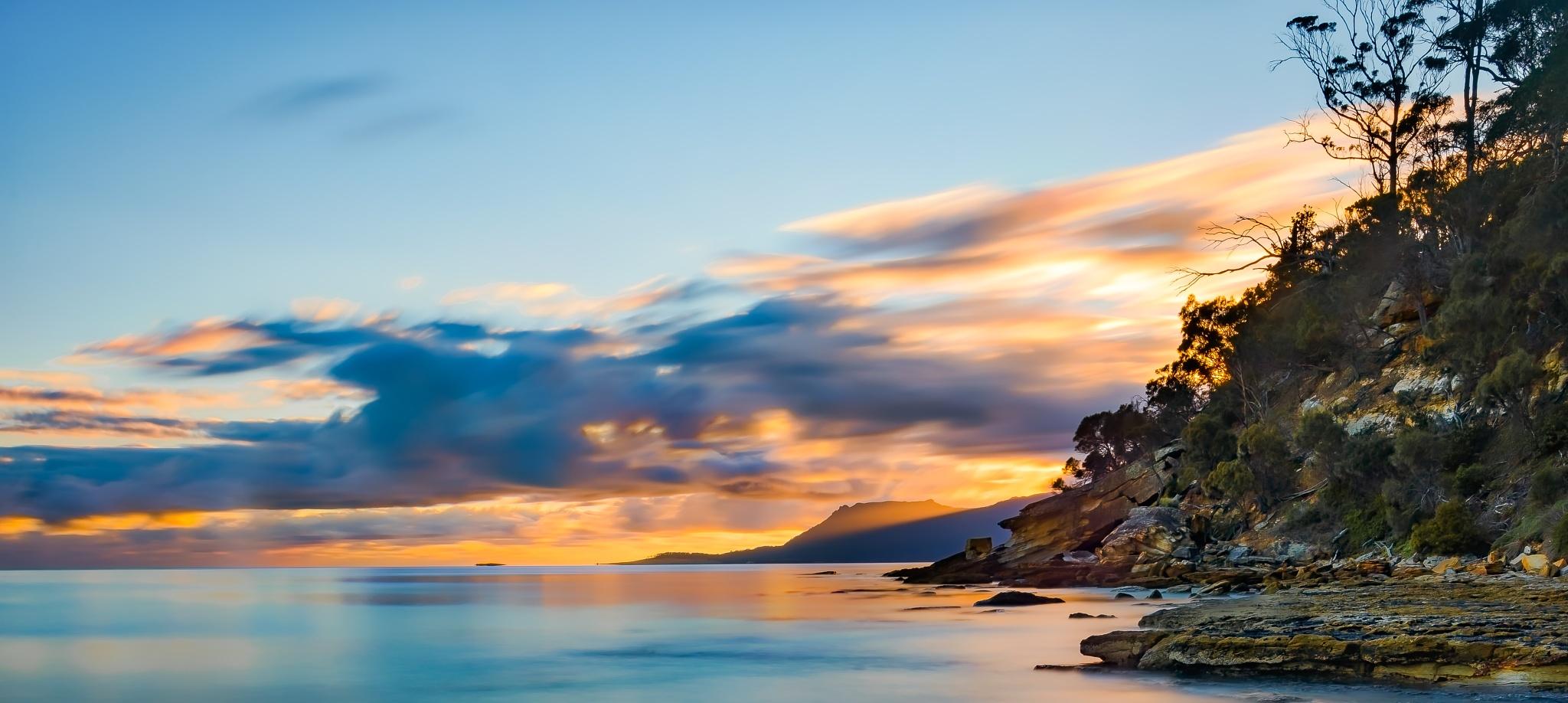 Photo in Landscape #landscape #beach #seascape #sunrise #ocean #sun #clouds #tasmania #australia
