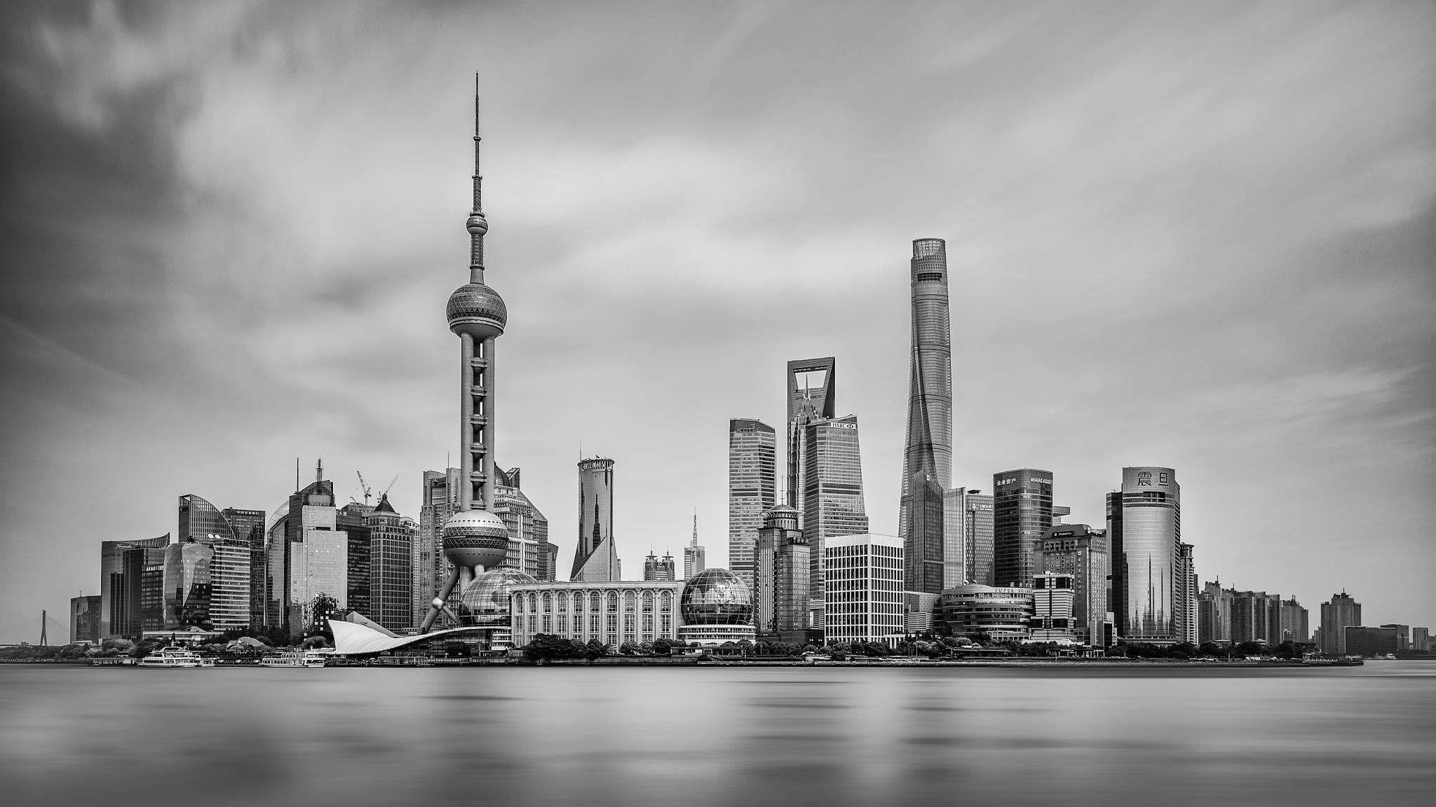 Shanghai Pudong Skyline by CamHadlowPhotography