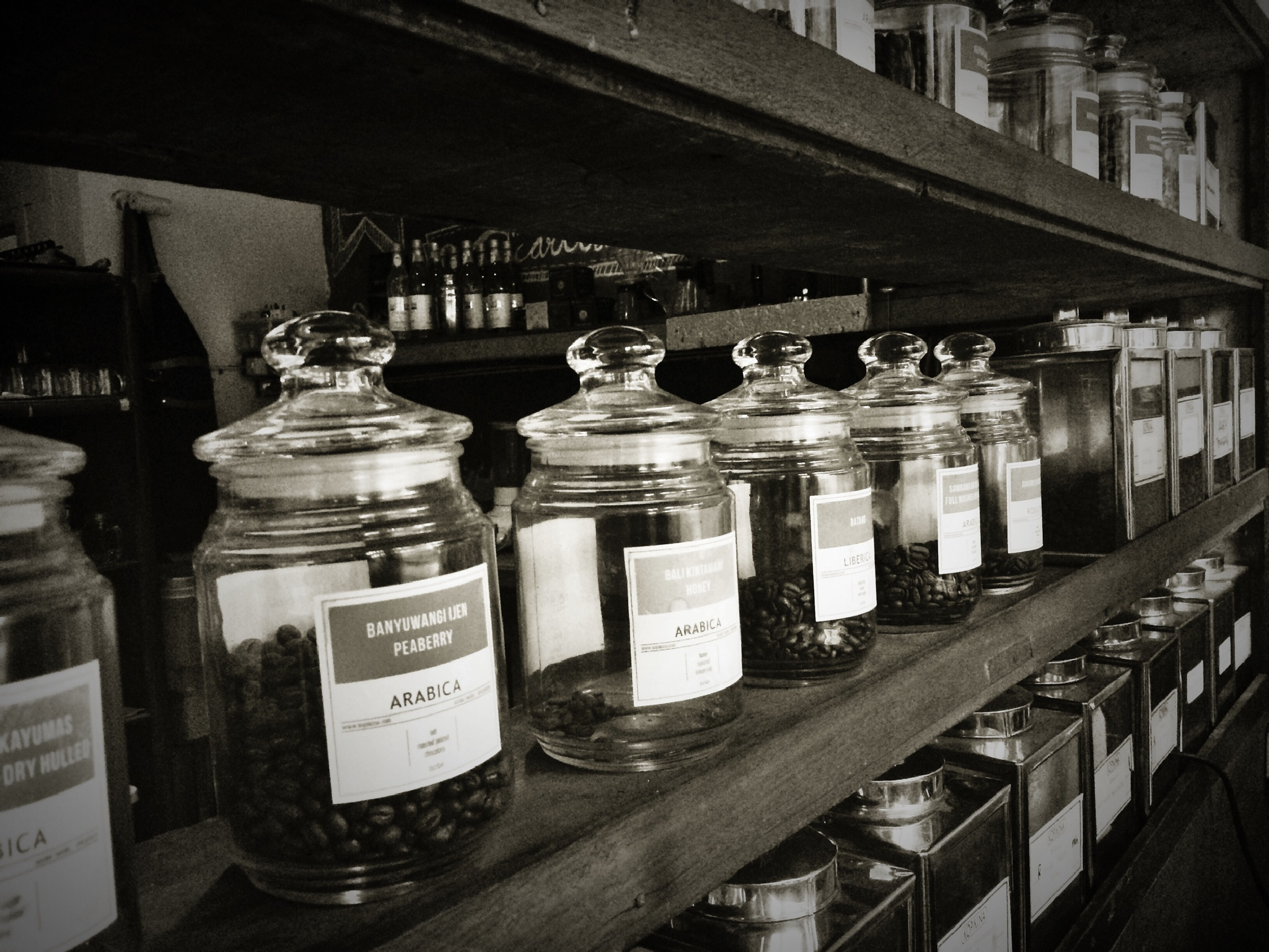 Jars of coffee beans by ryudhawinata