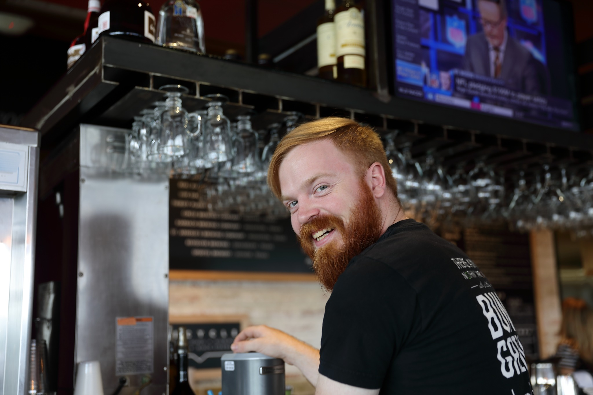 Photo in People #bartender #austin #texas #male #redhead #work #smile #hamburger bar