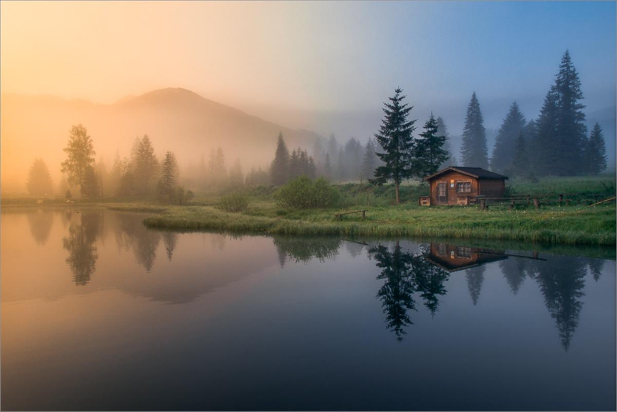 Die Hütte am See by Friedrich Beren