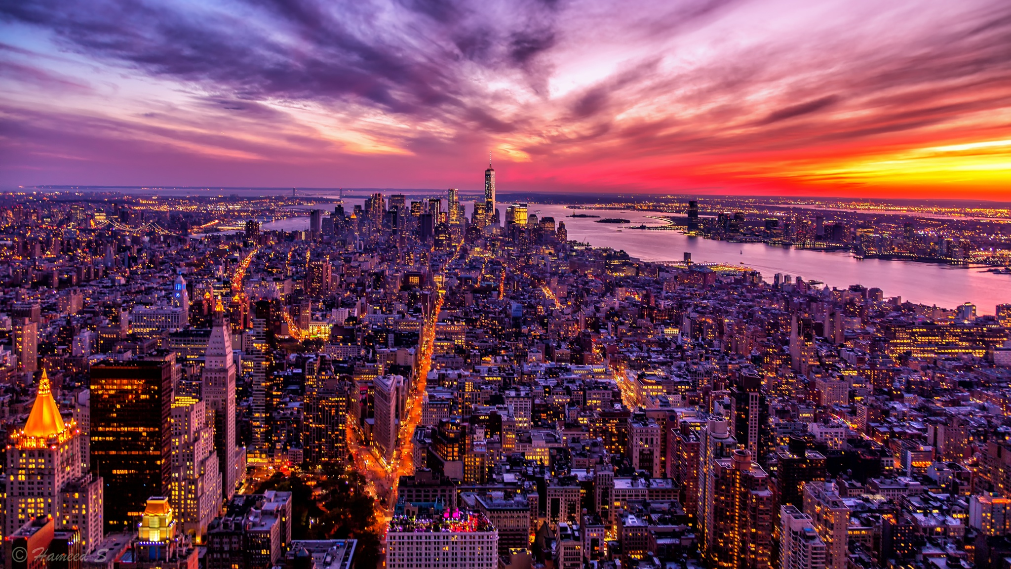 Sunset in Manhattan Island by Hameed S