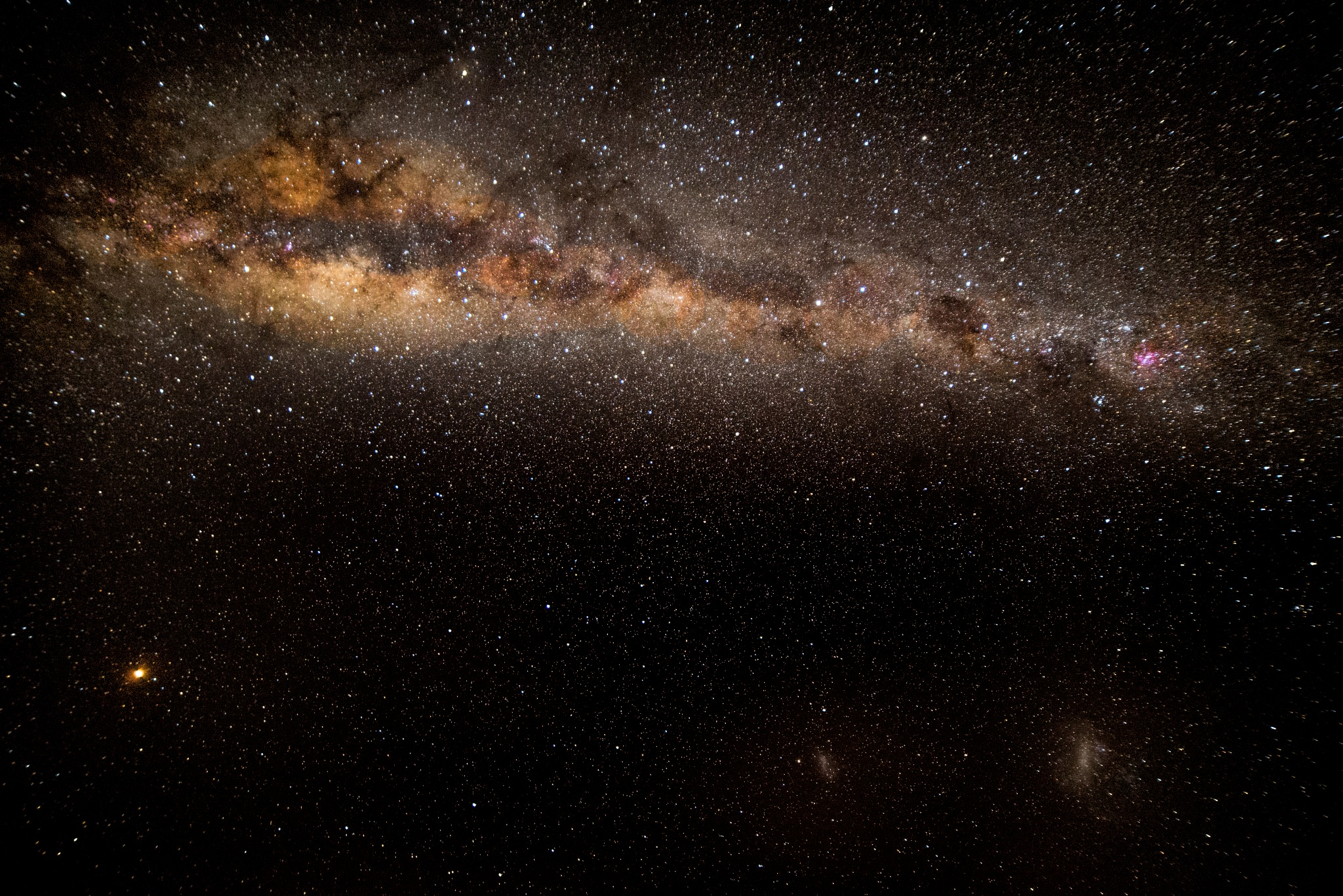 Milky Way Magellanic Clouds and Mars by Graham Levi