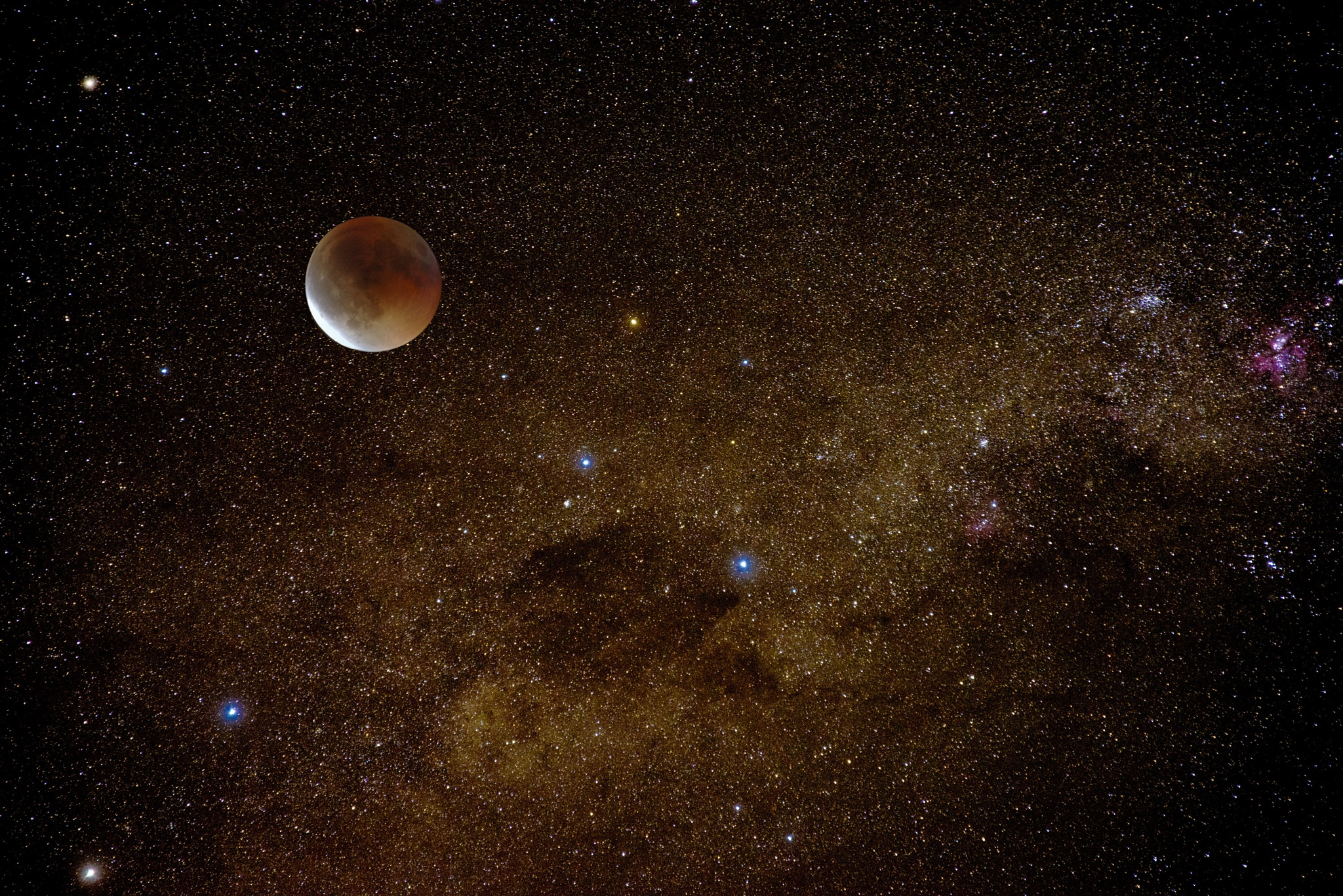 Lunar Eclipse and Milky Way by Graham Levi