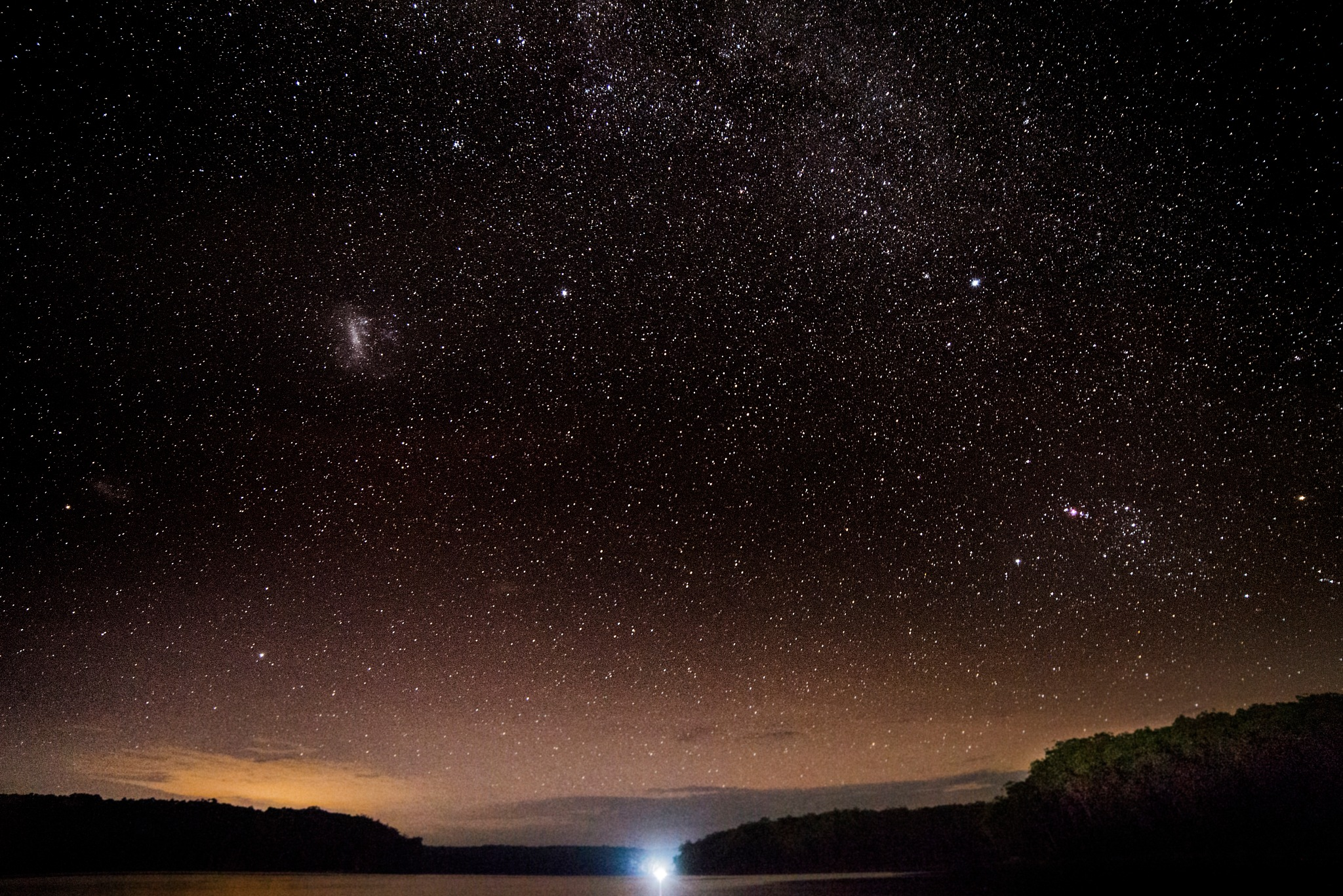 Aussie Lake with Orion Nebulae and Magellanic Clouds by Graham Levi