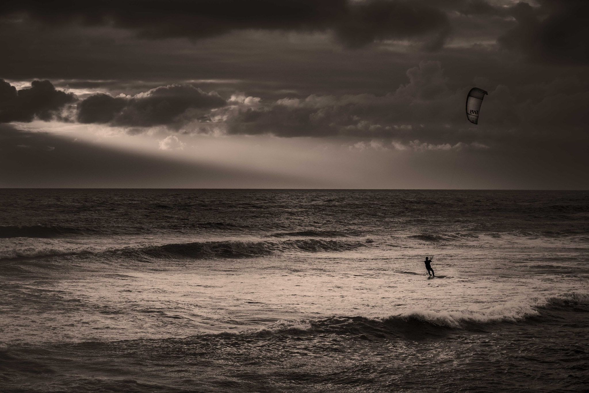 Photo in Sea and Sand #windsurfer #wind #surfer #surf #whitewater #monochrome #black and white