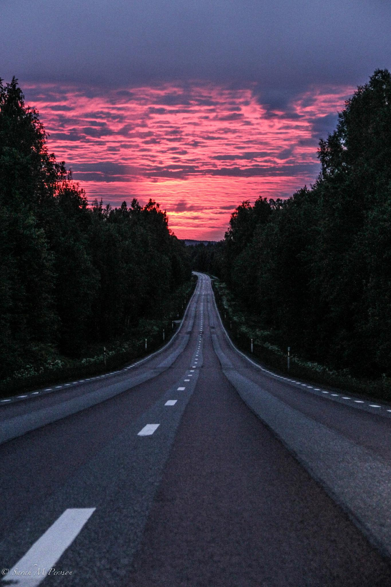 Midsummer night road by Sarah M Persson