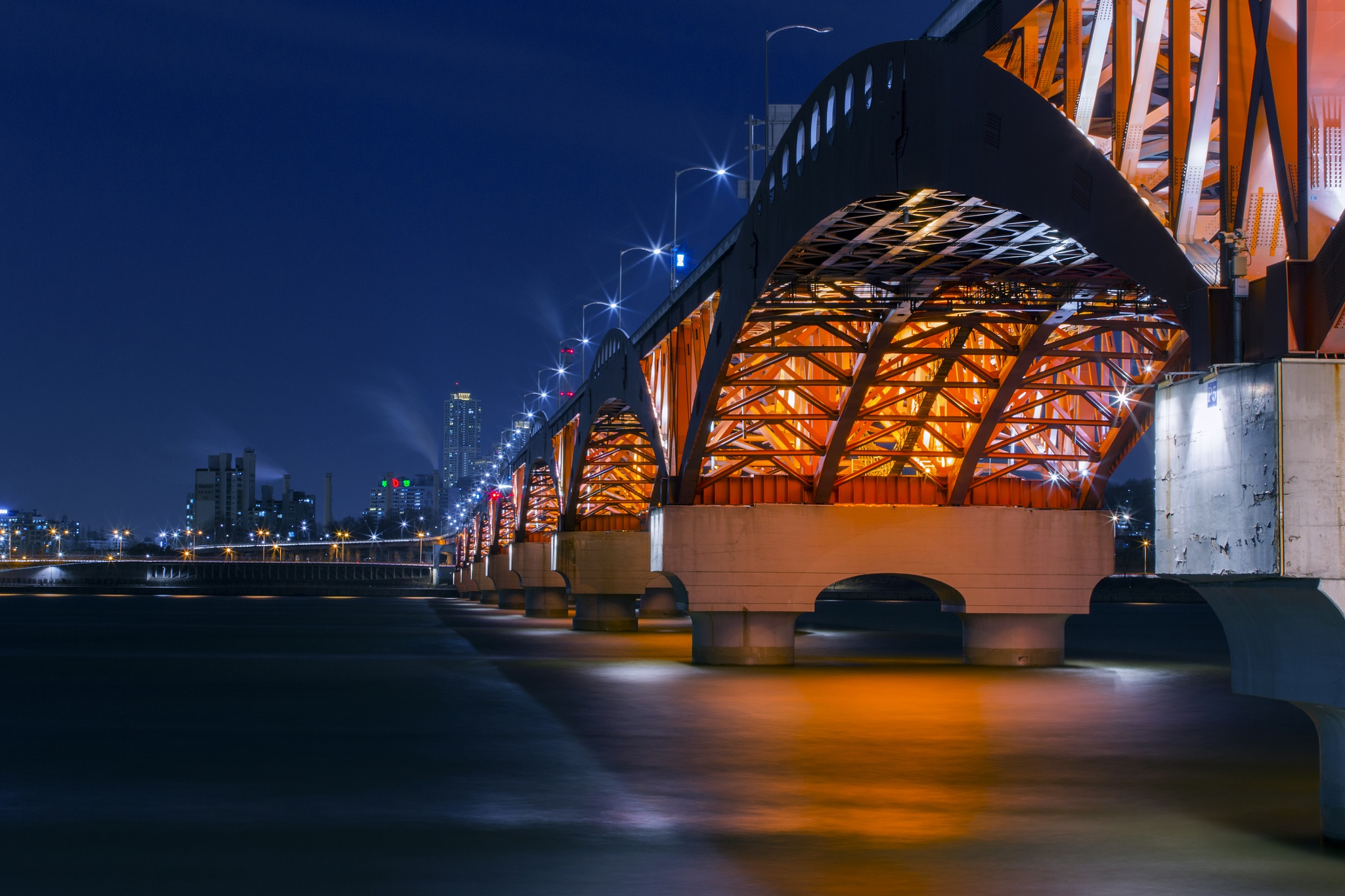 Photo in Architecture #bridge #night #long #color