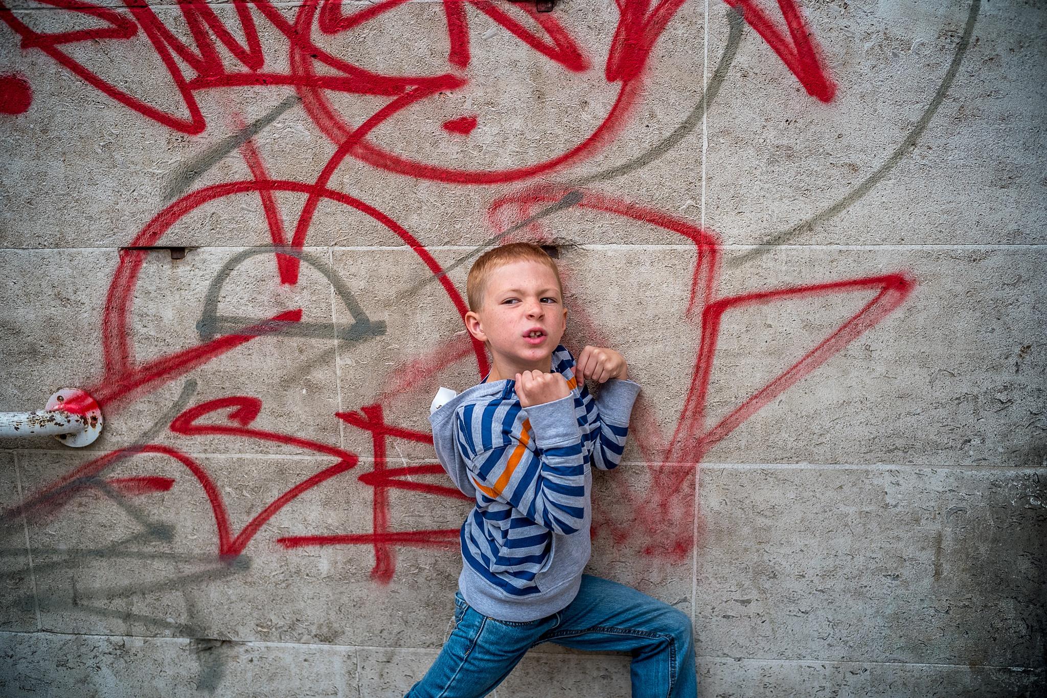 "Young Urban ""Superhero"" Boy by mike hughes"