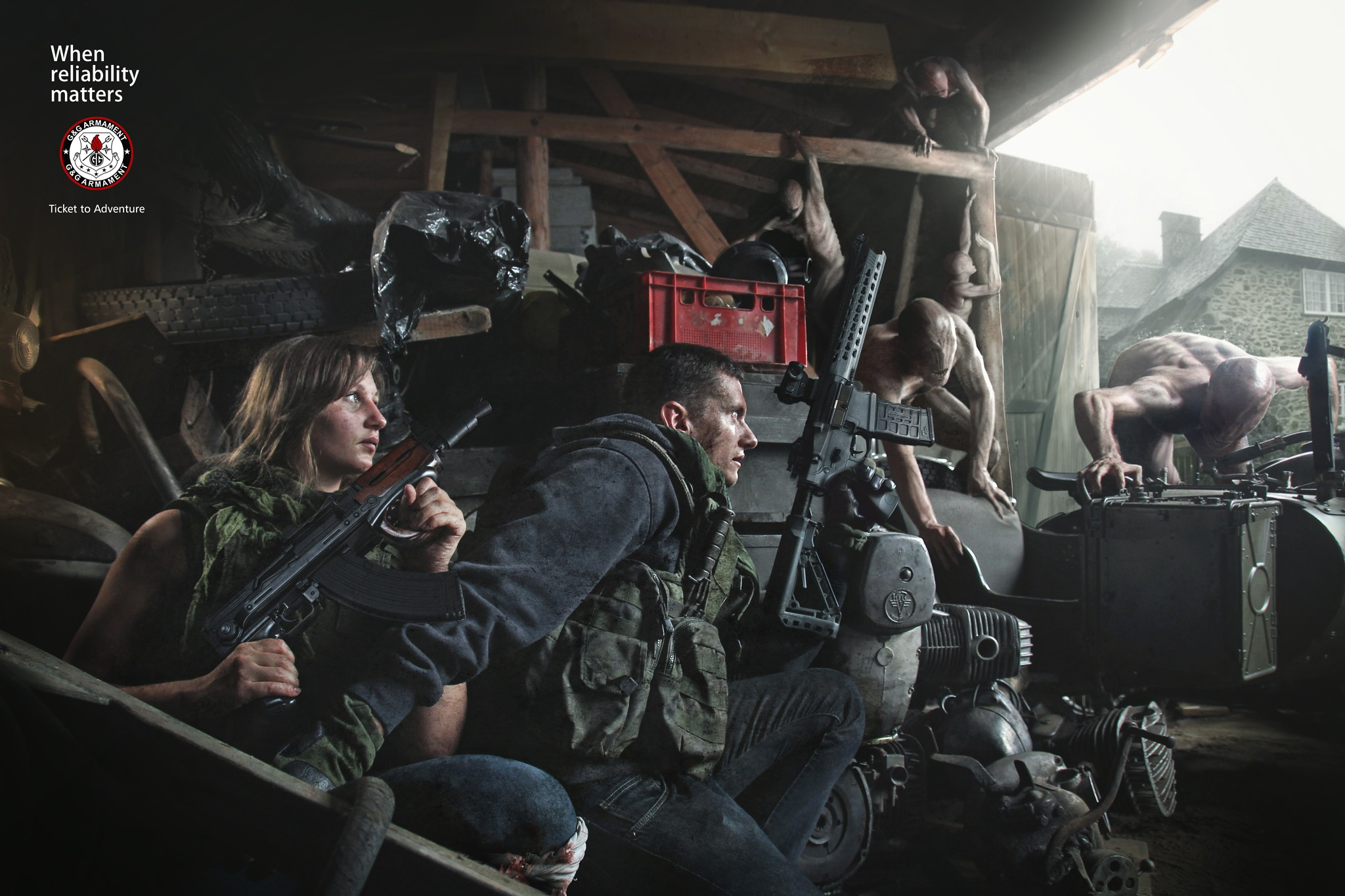 Photo in People #airsoft #barn #zombies #guns #photomanipulation