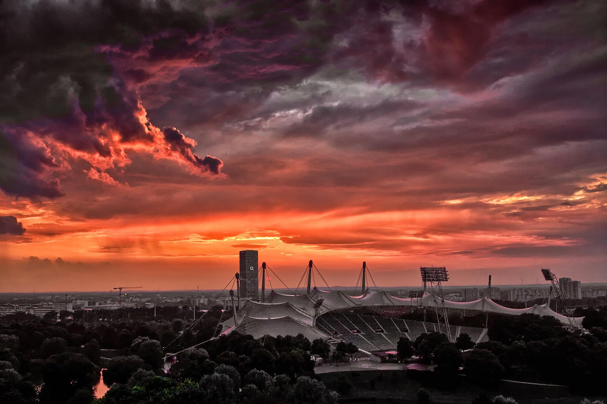 Sundown at Olympuic Stadium Munich by Michael Stapfer