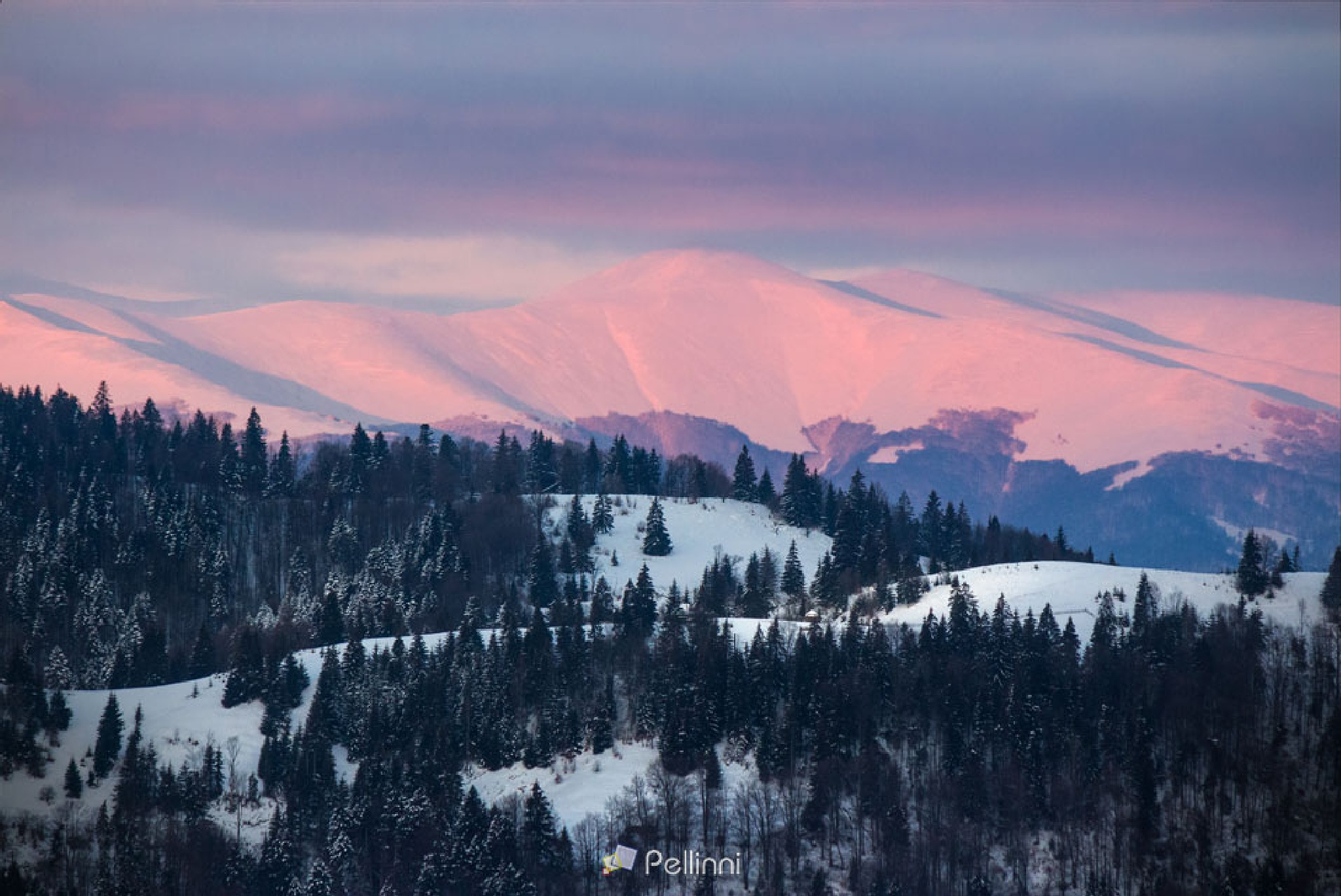 carpathians on red winter sunrise by Mike Pellinni