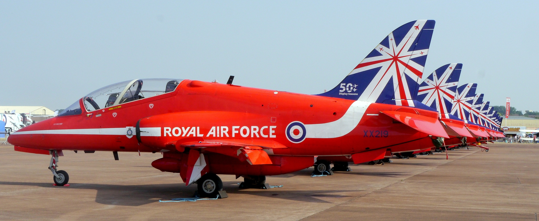 The Red Arrows at the Fairford Airshow by Seymour White