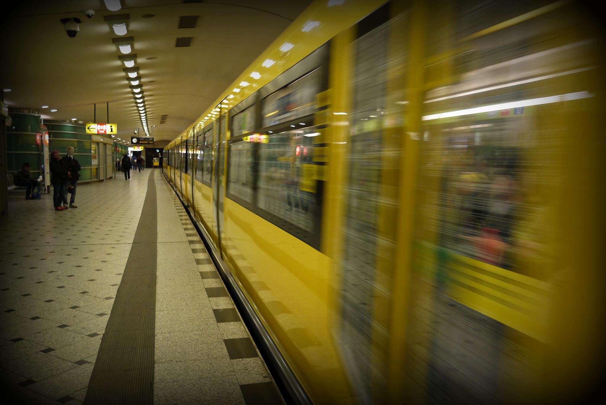 U9 Train leaving Kurfurstendamm station in Berlin  by Seymour White