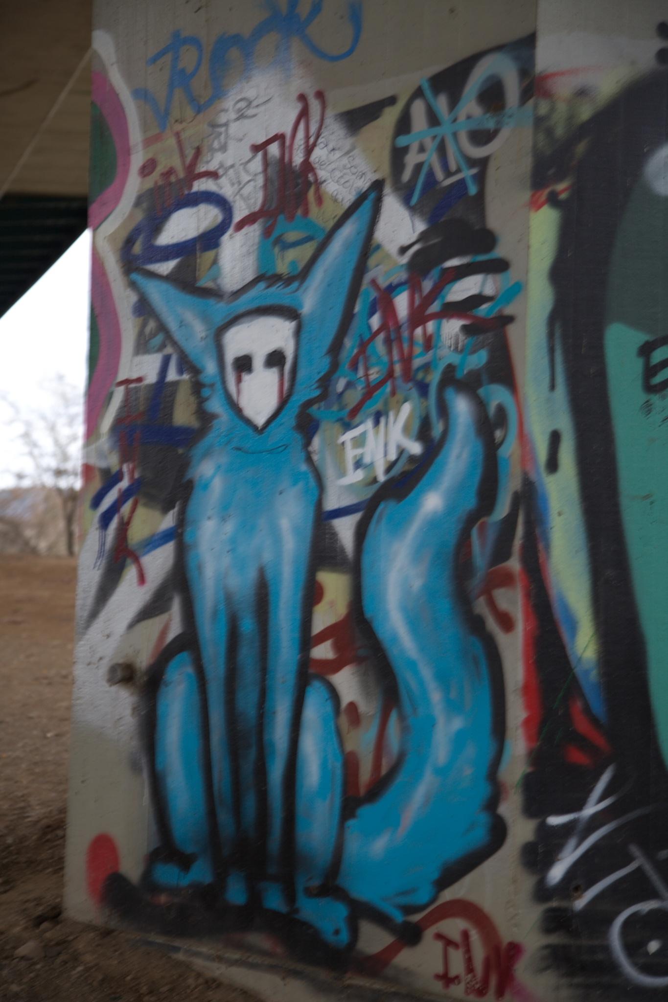 Photo in Fine Art #gaffiti #zeichnungen #pfeiler #säule #autobahn #bonn