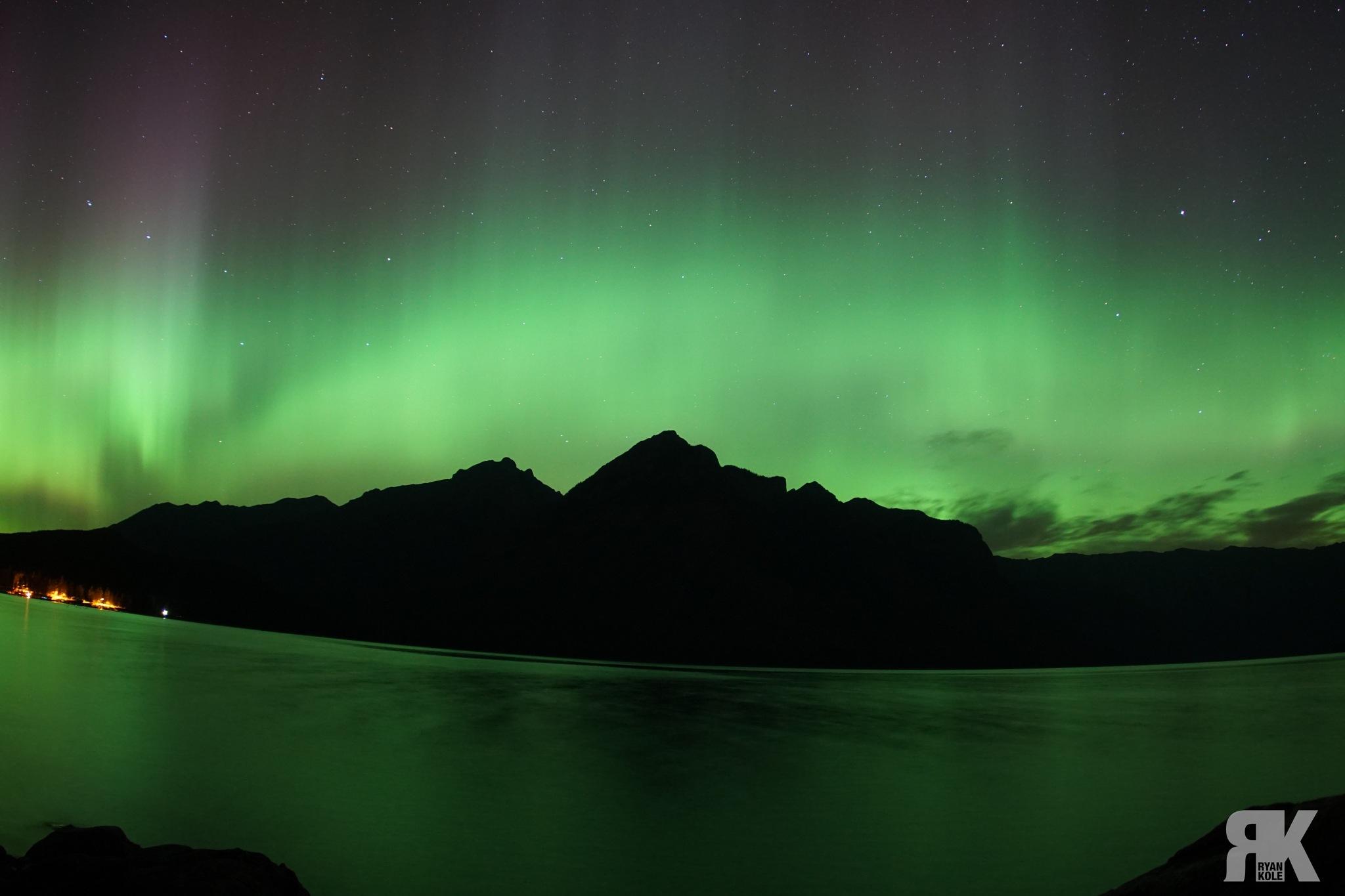 Aurora Over Lake Minnewanka by Ryan Kole