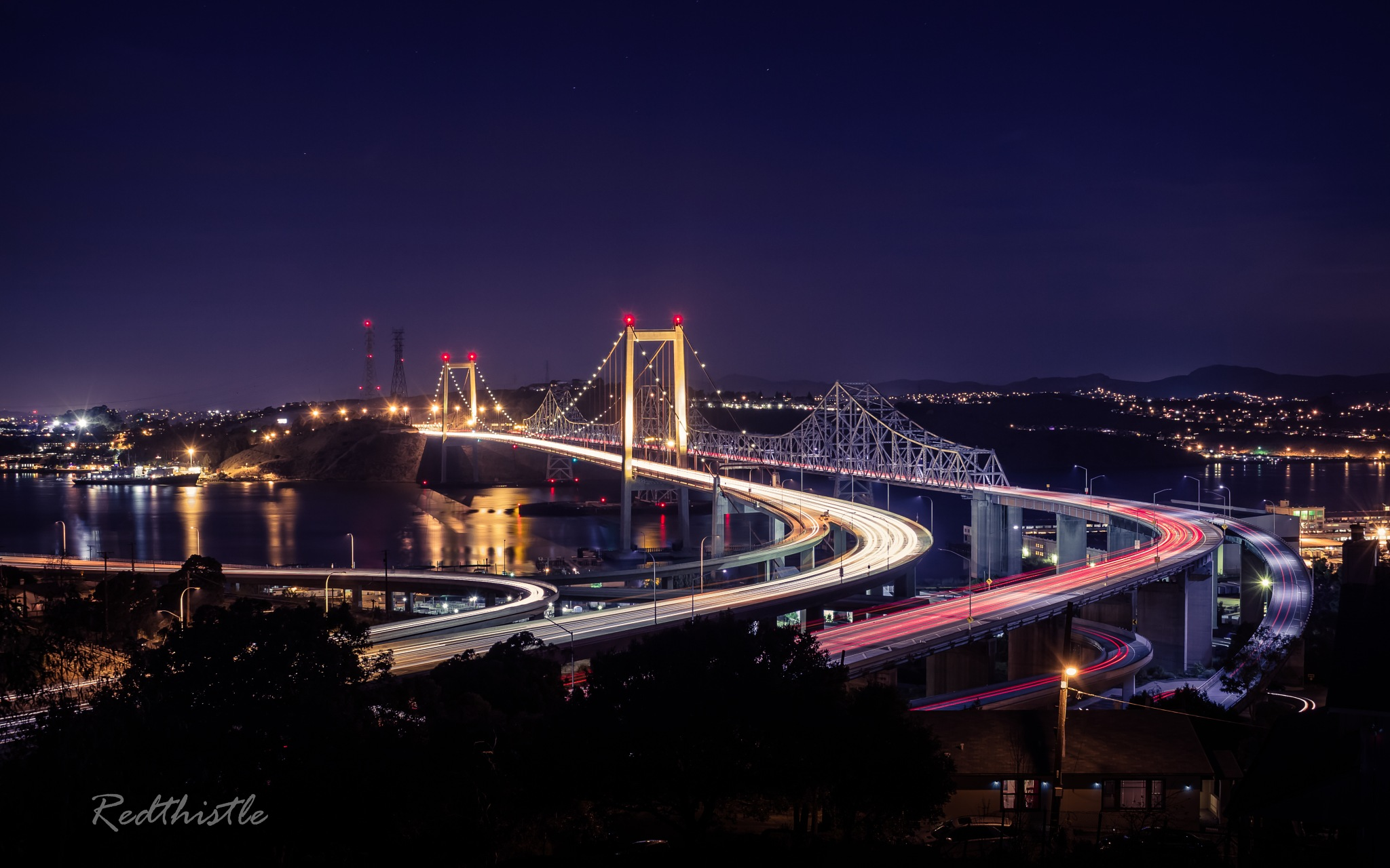 Alfred Zampa Memorial Bridge during twilight by Icethistle Photography