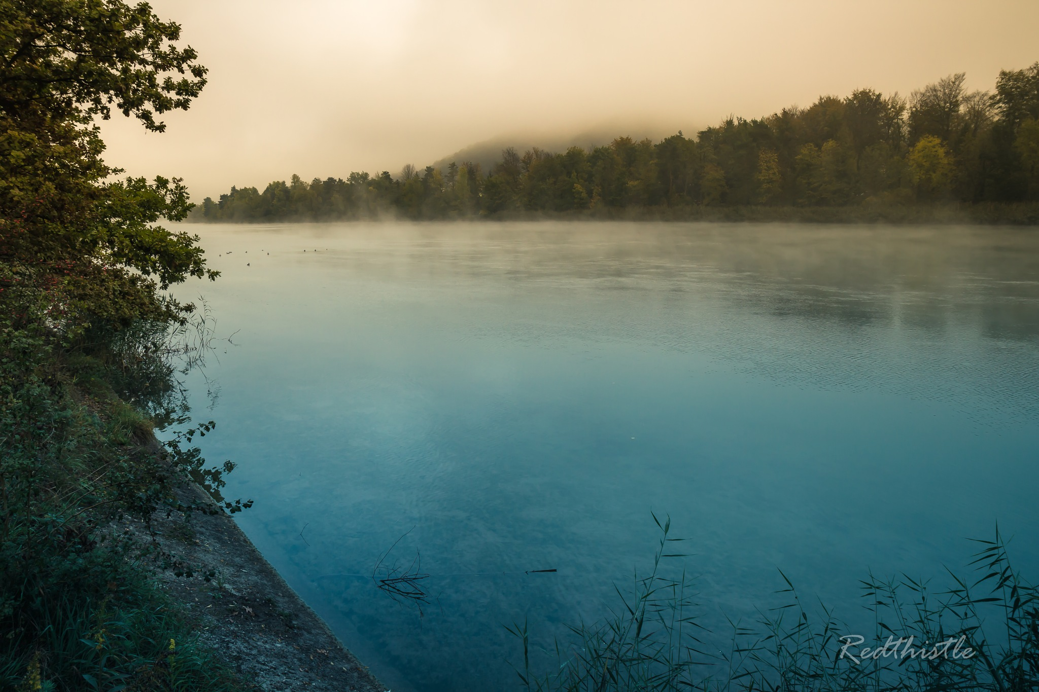 Glory morning at the river Aare... by Redthistle