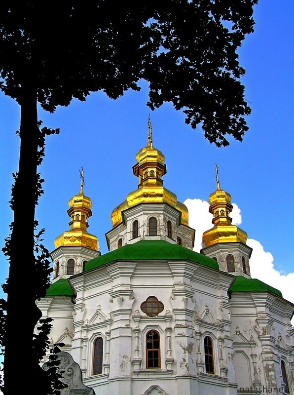 Photo in Architecture #temple #golden #domes #tree #sky #blue #cloud