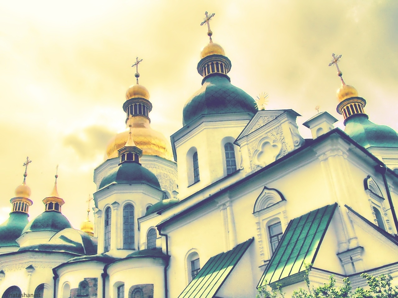 Golden domes in the golden sky sunlight by natashaneit