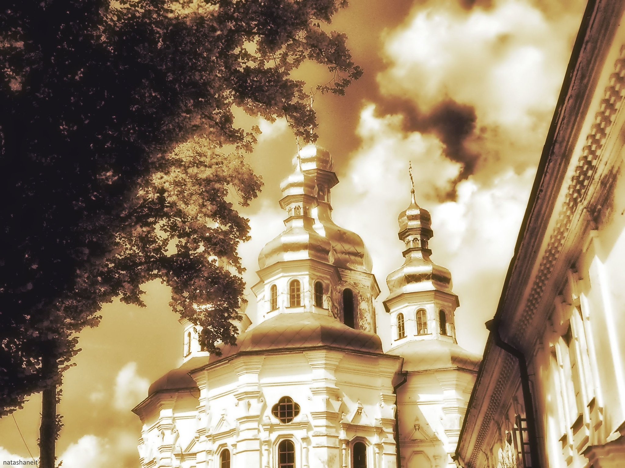 Photo in Landscape #gate church #monastery #caves monastery #temple #golden #domes #trees #sky #clouds