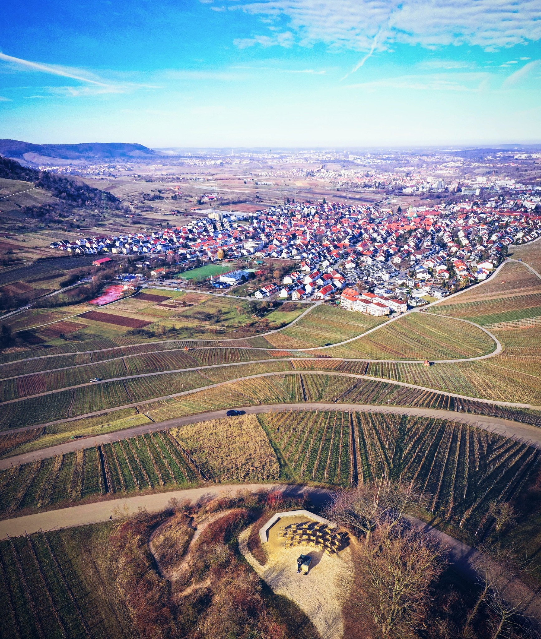 Photo in Landscape #landscape #view #vineyards #hills #town #sky #clouds #weather #sunny #outdoors #aerial #light #details #colors #mood #bird's-eye view #travel #visit #explore #discover #remstalkino #weinstadt #remstal #rems-murr-kreis #baden-württemberg #germany #europe #photography #hobby #drone #dji mavic 2 pro