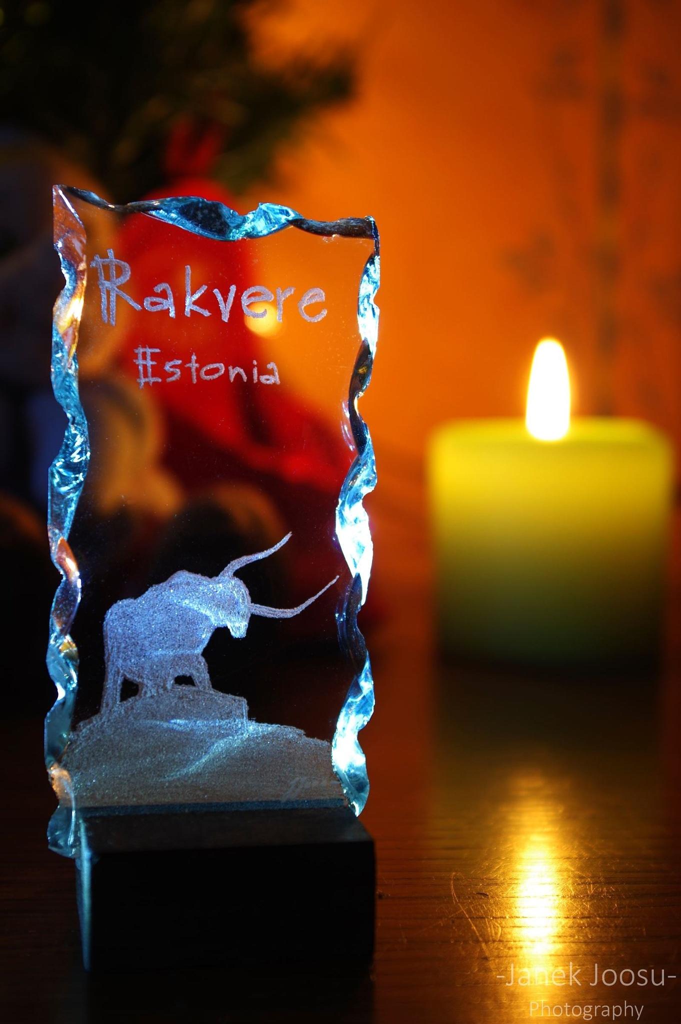 Glass engraving under Christmas lights by Janek Joosu