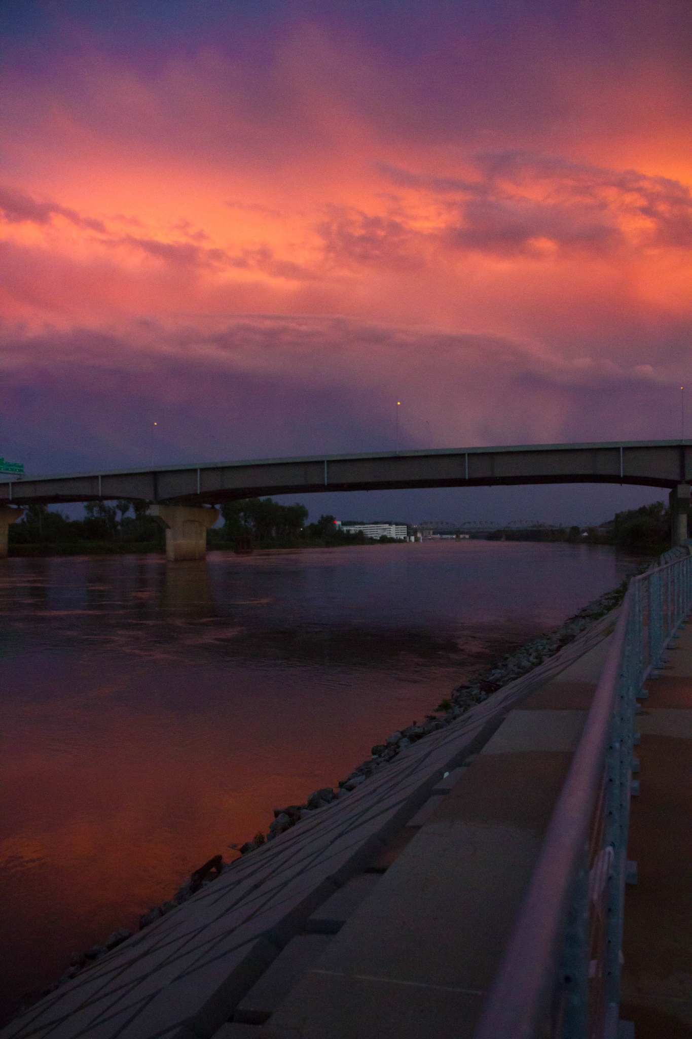 Photo in Random #sky #colorful #water #missouri river #omaha #council bluffs #pink #purple #clouds