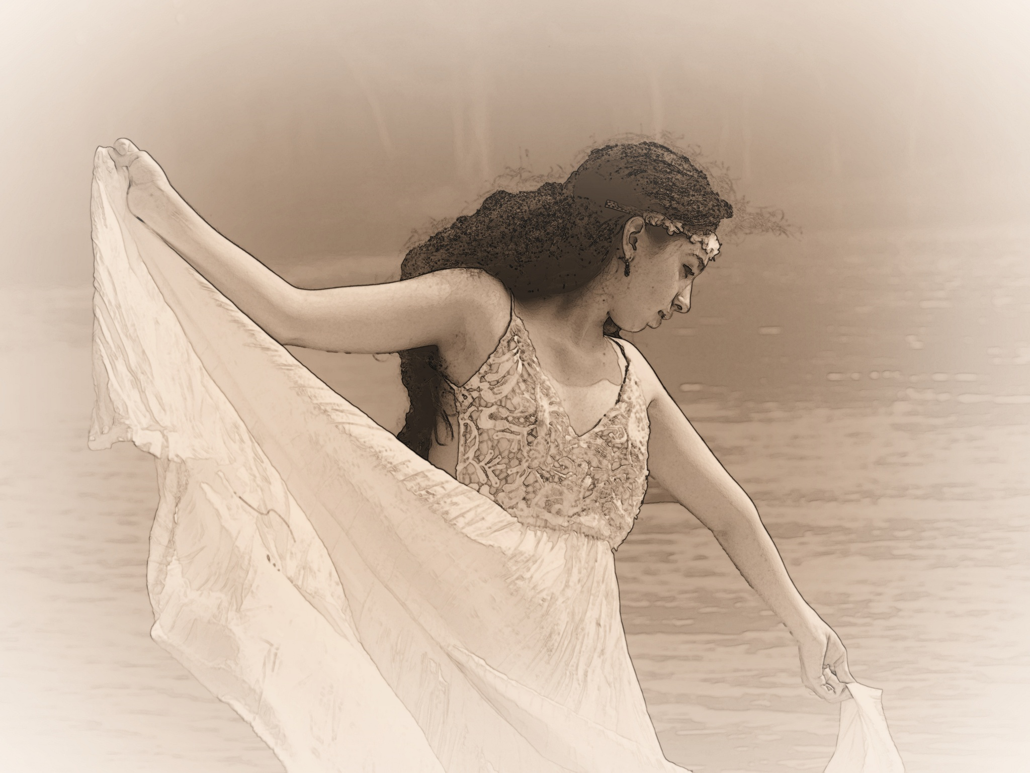 Dancing by the lake (sepia)  by Frank J Garcia