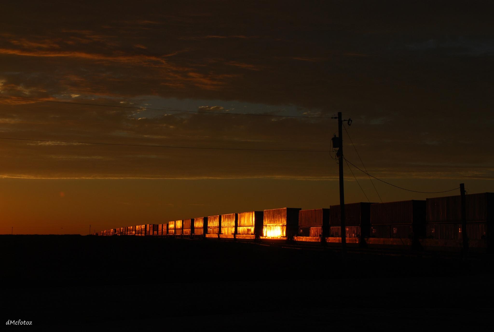 train at sunset by reddirtdiva