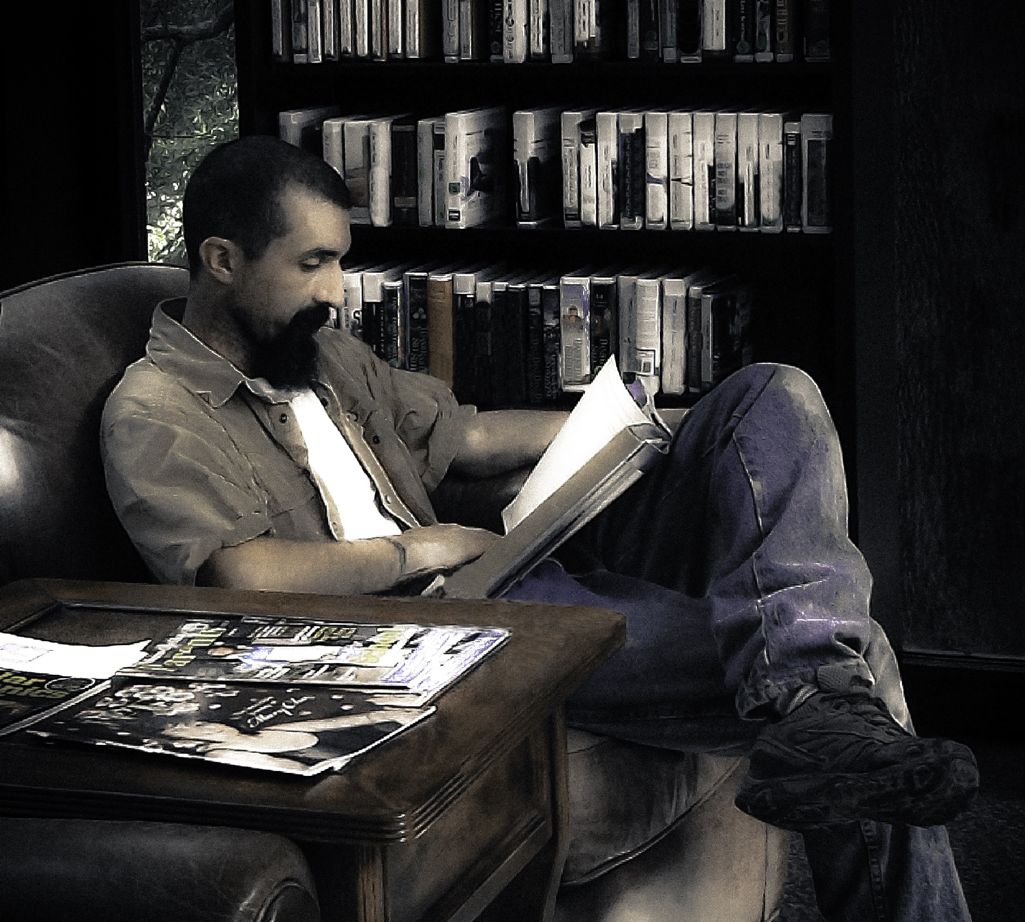 Enjoying a good read by Matthew Woodall