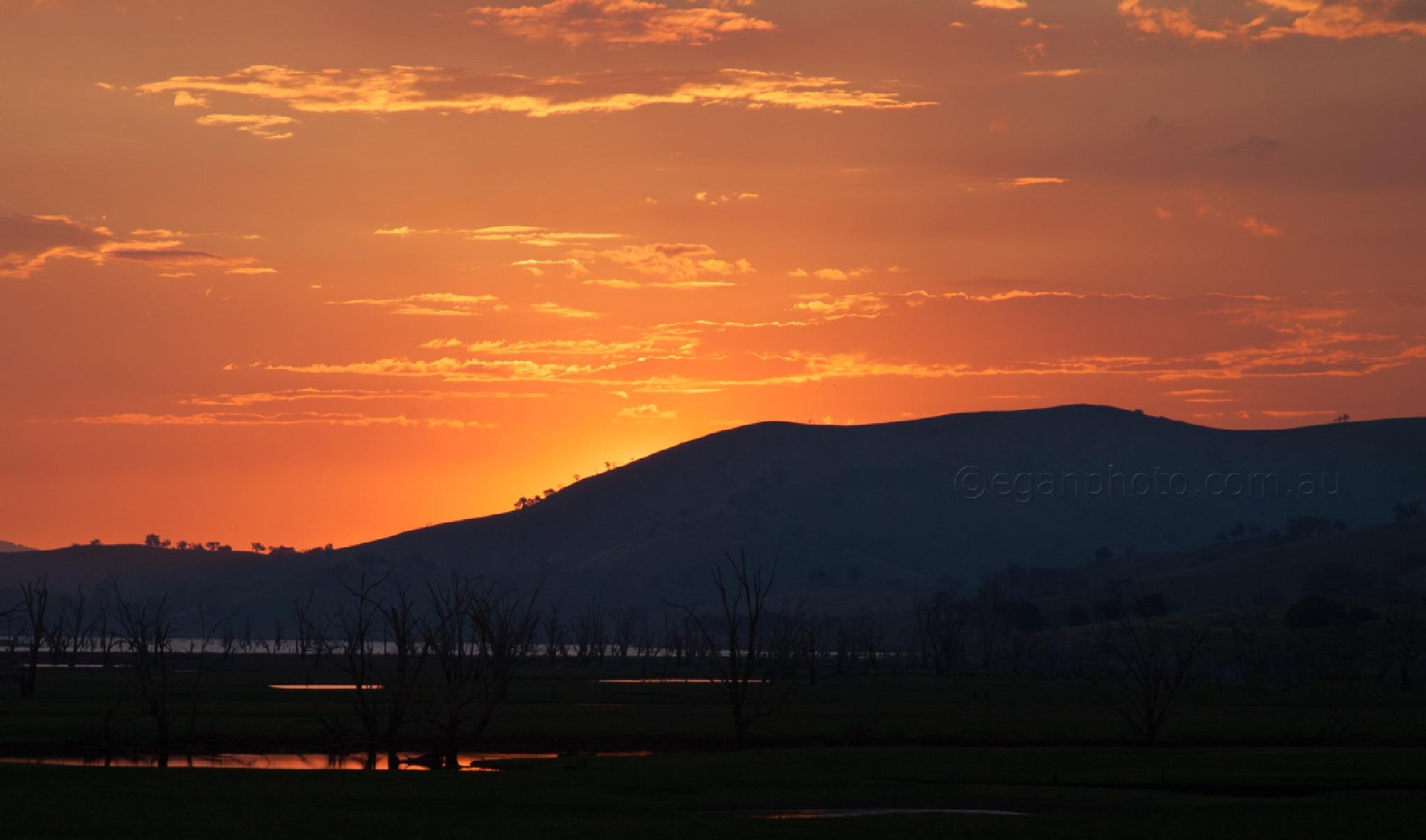 Sunset Light on Billabongs by Mick Egan