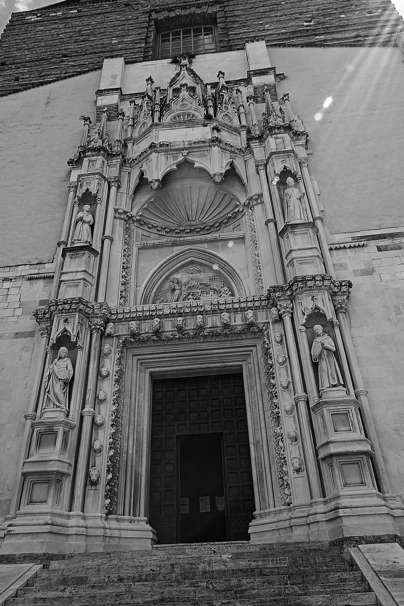 Photo in Architecture #san francesco alle scale (anco #chiesa #portale #portal #church #stairs #b/n #blak and white #church portal #franciscan saints #giorgio orsini from sibenik #da sebenico