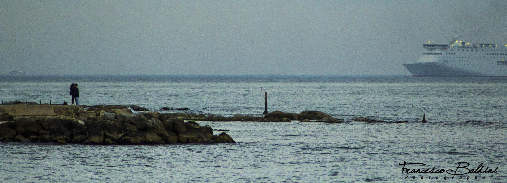 Two lovers on the sea by Francesco Baldini