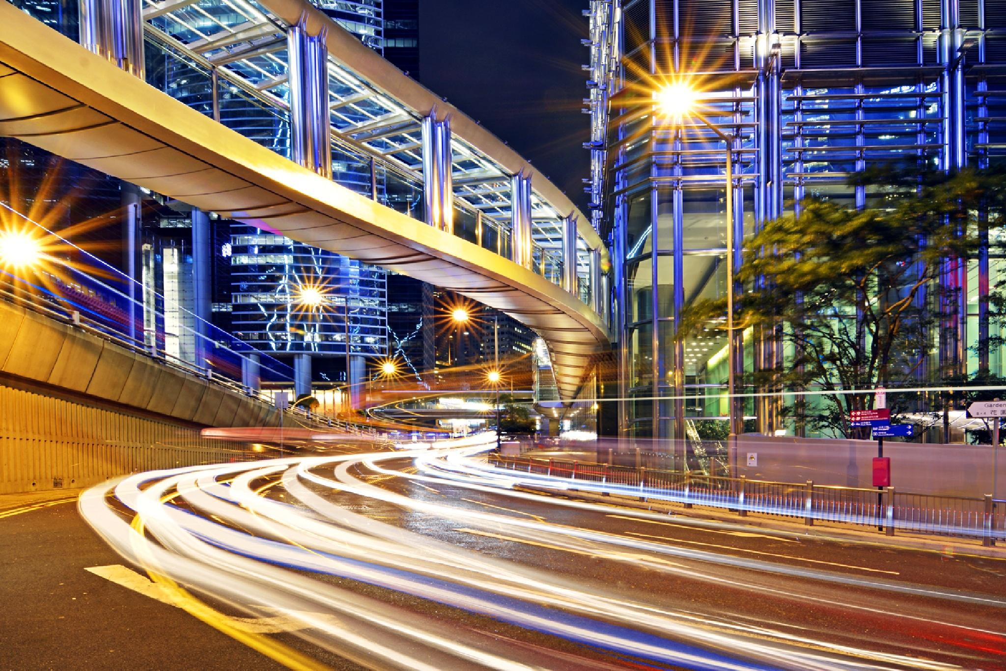 Light track on Hong Kong by BenKPChung