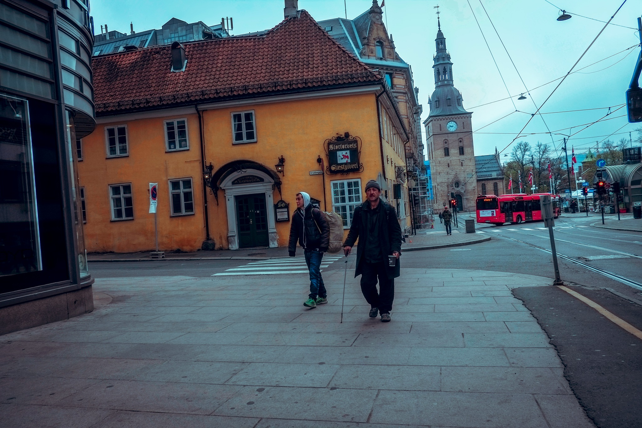 North & Beggar on the empty 1.May streets by Goran Jorganovich